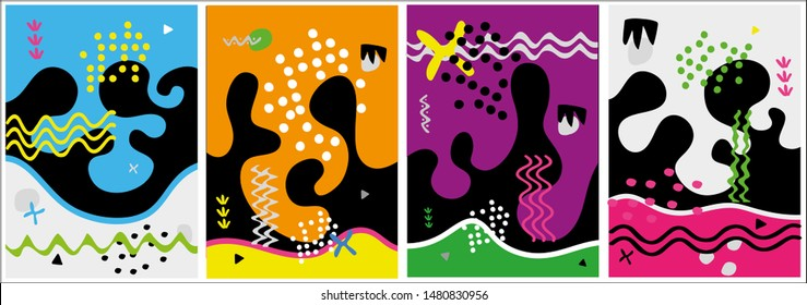 Set of creative card, cover and background with abstract shapes and colors.