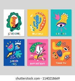 Set of creative cards. Happy Birthday, Thank you, Girl Boss and other designs with hand drawn cactus, eyes, crown, flowers, leaves, watermelon, hands. Contemporary art prints, modern vector graphics