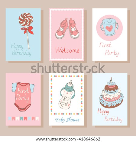 Set Creative Cards Kids Trendy Collection Stock Vector Royalty Free