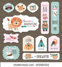 Set of creative cards templates with cute tribal animals and quotes.