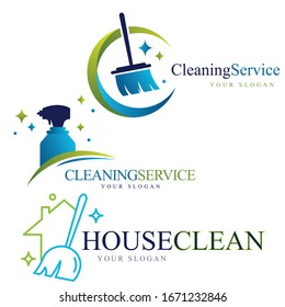 Set of the creative Cleaning Concept Logo Design Template