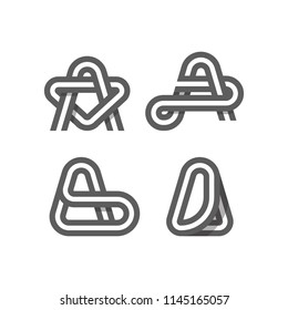 Set of Creative Concept idea graphic design letter logo A element and abstract business template vector icon collection with rounded, isometric, monogram, striped, ribbon, linear, 3D shape.