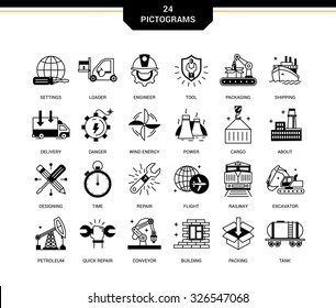 Set of creative contemporary icons in a linear style. Heavy industry, delivery of goods by land, air and sea transport, species by professional activities, railways, conveyer
