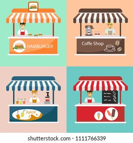 Set creative detailed vector street coffee cart, ice cream, juice and hamburger shop with sellers. Street food or junk food in food festival event.