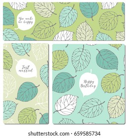 Set of creative flyers with forest leafs.