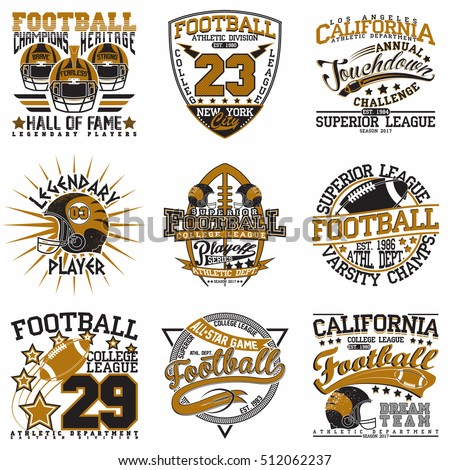 d79bf17dc Set of Creative grunge t-shirt graphic designs, Vintage football print  stamps, Sports wear typography emblems, Vector - Vector