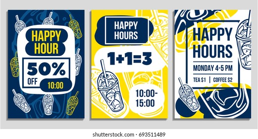 Set of creative hand drawn sale flyer template design. Can be used as poster, banner or email design. Vector illustrations of attractive discount offers. Funny and eye catching sale collection.