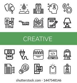 Set of creative icons such as Brain, Painter, Startup, Brush, Company, Design, Thinking, Writing, Blood, Lighting, Webcam, Plug, Creative, Pencils, Cassette, Development , creative