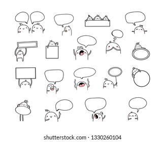 Set of creative illustrations with cute marshmallows and speech bubbles in different forms cartoon minimalism