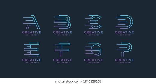 Set of creative initial letter a, b, c, d, e, f, g and p digital technology logo. Premium Vector