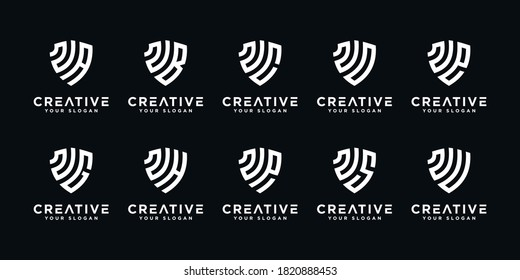 Set of creative letter N and etc logo template with shield art style. icons for business of finance, consulting, simple.