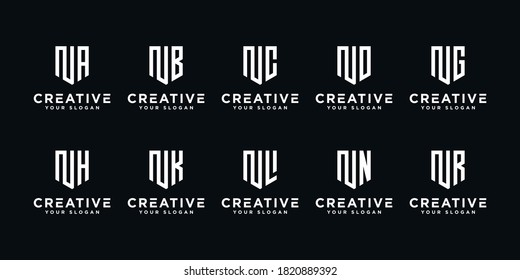 Set of creative letter N and etc logo template. icons for business of finance, consulting, simple.
