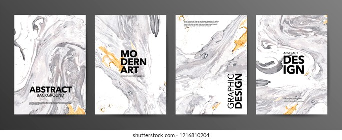 Set of creative marble cards. Hand Drawn textures made with special ink. Ochre and white marble background. Fluid art. Applicable for design cover, posters, presentation, invitation, flyer.