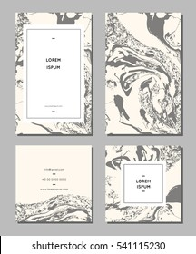 Set of creative marble cards. Hand Drawn textures made with special ink. Best design for poster, card, invitation, placard, brochure, flyer. Vector. Isolated.