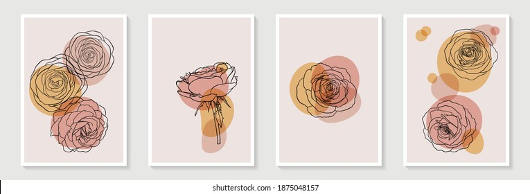 Set of creative minimalist hand draw illustrations floral outline pastel biege simple shape for wall decoration, postcard or brochure cover design