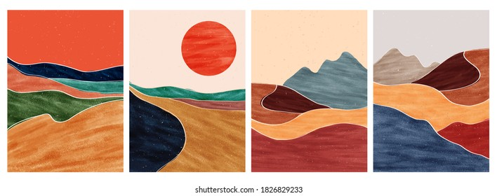 set of creative minimalist hand painted illustrations of Mid century modern. Natural abstract landscape background. mountain, sea, sky, sun and river