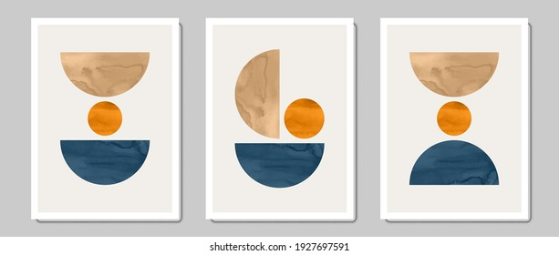 Set of creative minimalist illustrations for wall decoration, postcard or brochure cover design. Vector EPS10.