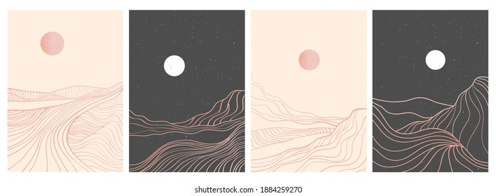 set of creative minimalist modern line art print. Abstract mountain contemporary aesthetic backgrounds landscapes. with mountain, forest, sea, skyline, wave. vector illustrations - Shutterstock ID 1884259270