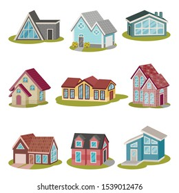 Set of creative modern houses of different shapes. Vector illustration.