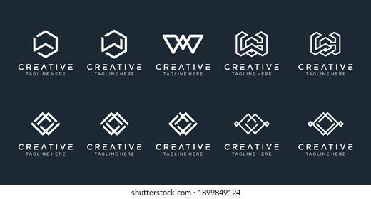 Set of creative monogram initial W logo template. icons for business of fashion, sport, building, simple.