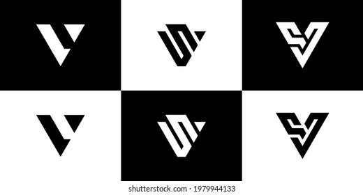 Set of creative monogram letter initial V letter logo design vector Monogram Icon Template.logo Lv
