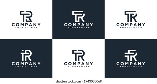Set of creative monogram letter tr logo design inspiration template for consulting, initials, financial companies