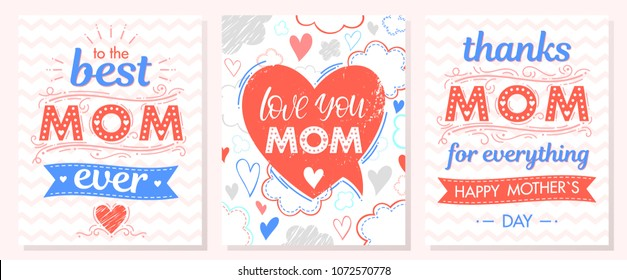 Set of creative Mothers Day cards with with zig zag background,ribbons and hearts.Seasons greetings cards perfect for prints, flyers,banners,invitations,special offer and more.