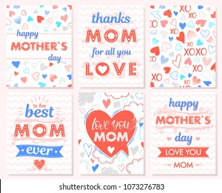 Set of creative Mothers Day cards with hearts,clouds,zig zag background,hugs and kisses,ribbons.Seasons greetings cards perfect for prints, flyers,banners,invitations,special offer and more.
