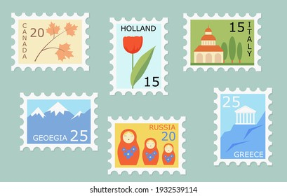 Set of creative post stamps with different countries landmarks and symbols. Fun postage stamp vector designs for using on envelopes. Mail and post office concept.
