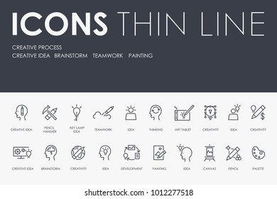 Set of CREATIVE PROCESS Thin Line Vector Icons and Pictograms