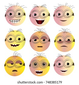 Set of Creative Smiley Faces with Different Emotional Expressions. Minion View Design. Vector Illustration