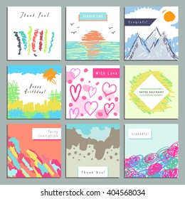 Set of creative square invitation, congratulatory, gratifying cards. Hand Drawn. Design for poster, placard, brochure, flyer