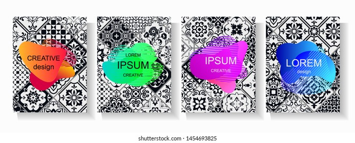 Set of creative templates with bright frames for cards, banners, placards, cover book, bussnes cards. Vintage background from tiles. Trendy vector collection.