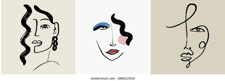 Set of creative templates in trendy style with one line face portrait, contemporary abstract colorful shapes. Cubism face. Design promotion.