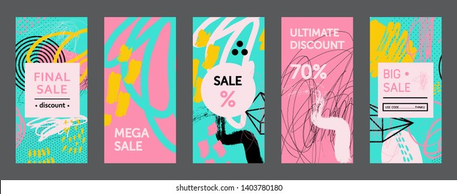 Set of creative universal abstract cards. Designs for prints, wedding, anniversary, birthday, Valentine's day, party invitations, posters, cards, etc. Vector. Isolated.