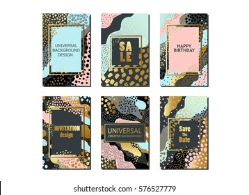 Set of creative universal cards and background with hand drawn textures. Use them for banner, poster, card, invitation, placard, brochure, flyer. Vector art frame for text with gold and black.