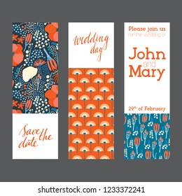 Set of creative universal cards. Designs for prints, wedding, anniversary, birthday, Valentine's day, party invitations, posters, cards, etc. Vector. Isolated.