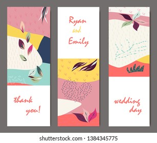 Set of creative universal cards. Designs for prints, banner, poster, placard, brochure, flyer, wedding, birthday, party invitations.
