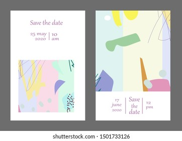 Set of creative universal cards. Designs for prints, banner, poster,card, cover, invitation, placard, brochure, flyer, wedding, birthday, party invitations.