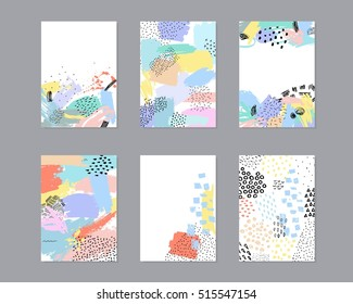Set of creative universal cards with hand drawn textures. Use them for banner, poster, card, invitation, placard, brochure, flyer.