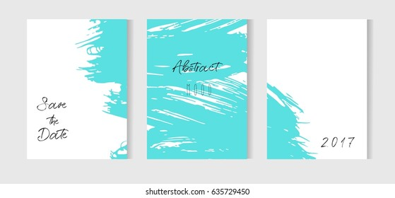 Set of creative universal cards. Hand Drawn textures. Wedding, anniversary, birthday,save the date, party. Design for banner, poster, card, invitation placard brochure flyer Vector Isolated