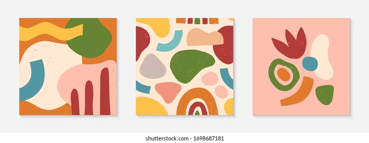Set of creative universal cards and pattern.Modern vector illustrations with hand drawn organic shapes and textures.Trendy contemporary design for prints,flyers,banners,brochures,invitations,covers.