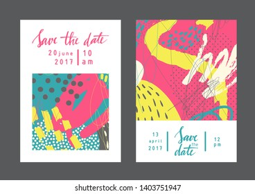 Set of creative universal drawn cards. Designs for prints, wedding, anniversary, birthday, Valentine's day, party invitations, posters, cards, etc. Vector. Isolated.