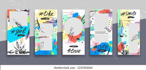 Set of creative universal Editable Stories Template in trendy style with Hand Drawn textures on transparent background for social media promo. Love, cute, girl, smile, like. Vector