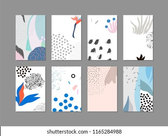 Set of creative universal floral cards in tropical style. Hand Drawn textures. Wedding, anniversary, birthday, Valentin's day, party invitations.