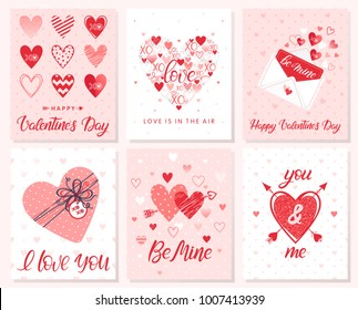 Set of creative Valentines Day cards with hearts,dots,hugs and kisses,love letter,gift box and arrows.Romantic illustrations perfect for prints,flyers,posters,holiday invitations and more.