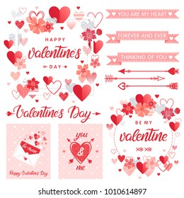 Set of creative Valentines Day cards and elements.Hand drawn lettering with hearts,arrows,love letter and ribbons.Romantic illustrations perfect for prints,flyers,posters,holiday invitations and more.