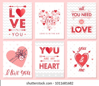Set of creative Valentines Day cards with hearts,dots,hugs and kisses,gift box and arrows.Romantic illustrations perfect for prints,flyers,posters,save the date,holiday invitations and more.