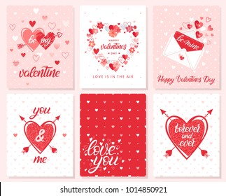 Set of creative Valentines Day cards with hearts,flowers,dots,love letter and arrows.Romantic illustrations perfect for prints,flyers,posters,save the date,holiday invitations and more.