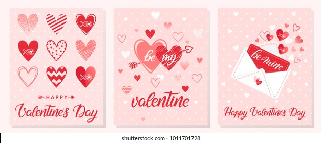Set of creative Valentines Day cards.Hand drawn lettering with hearts,dots,hugs and kisses,love letter and arrows.Romantic illustrations perfect for prints,flyers,posters,holiday invitations and more.